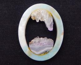 68.5cts natural amethyst,amazonite intarsia cabochon bead D1096