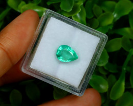 1.71Ct Colombian Muzo Emerald Neon Mint Green Beryl B1402