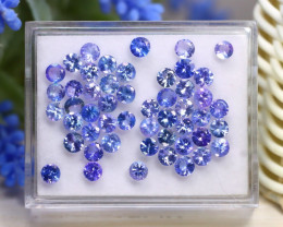 13.32Ct Round Cut Natural Purplish Blue Tanzanite Lot Box B1423