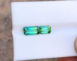 2.35 Ct Natural Blueish Green Transparent Tourmaline Gemstones Parcels