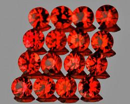 1.40 mm Round 60 pcs 0.93ct Orange Red Sapphire [VVS]