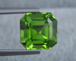 IF 6.10 CT Natural Beautiful Green Color Asscher Cut Peridot From Pakistan
