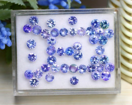 12.13Ct Round Cut Natural Purplish Blue Tanzanite Lot Box A1632