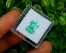 1.76Ct 2Pcs Colombian Muzo Emerald Neon Mint Green Beryl C1518