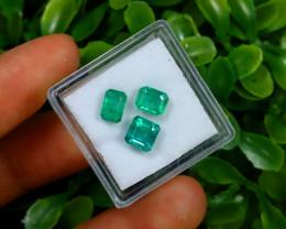Emerald 2.71Ct 3Pcs Natural Zambian Green Emerald C1527