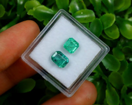 2.18Ct 2Pcs Octagon Cut Natural Zambian Green Emerald C1532