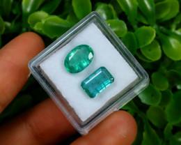 Emerald 3.69Ct 2Pcs Natural Zambian Green Emerald C1535