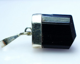 NR!!! 23.70 Cts Natural & Unheated~ Black Tourmaline Pendant With Silver Ca