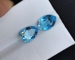 Sky Blue 4.65ct Natural Topaz ~ Swiss pair A.Q,