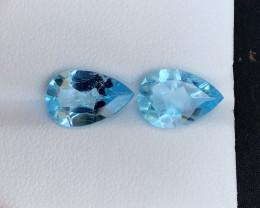 Sky Blue 6.35 ct  Natural Topaz ~ Swiss pair A.Q,