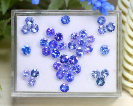 10.62Ct Round Cut Natural Purplish Blue Tanzanite Lot Box C1823