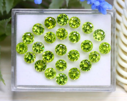 18.57Ct Round Cut Natural Pakistan Neon Green Peridot Lot Box C1834
