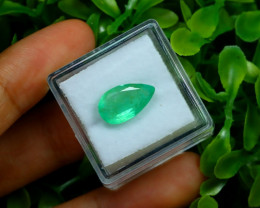 Emerald 3.00Ct Pear Cut Natural Zambian Green Emerald C1837