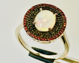 GARNET-OPAL- RING SILVER GOLD PLATED   , FROM COLLECTOR- UNUSED!