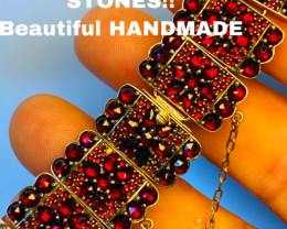 GARNET BRACELET!!!- , SILVER    - OLD BEAUTIFUL WORK! LIKE NEW COLLECTION!