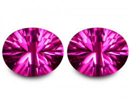 6.34Cts Genuine Amazing Natural Pink Topaz  10X8mm Oval Concave Cut Matchin