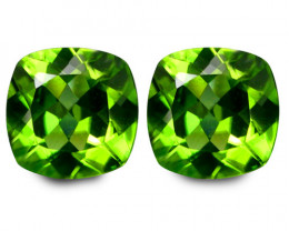3.98Cts Genuine Excellent Natural Peridot7mm Cushion Matching Pair REF VIDE