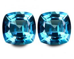 8.65Cts Sparkling Natural Baby Swiss Blue Topaz Cushion Cut Pair VIDEO