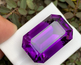 IF 47.70 CT Beautiful Color Emerald Cut  Amethyst From Brazil