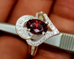 17Crt Rhodolite Garnet 925 Silver Ring 6.5 Natural Gemstones JI34