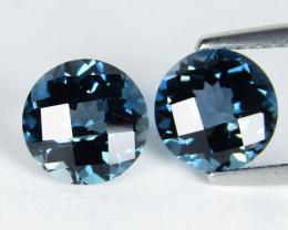 4.59Cts Sparkling Natural London  Blue Topaz 8mm Round Checker Cut Pair