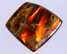 19x19mm,  19.46cts Natural Canadian Ammolite Stone / MA1774