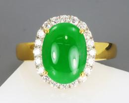 JADEITE JADE GIL CERTIFIED 4.61 GRAMS 18K YELLOW GOLD DIAMOND RING