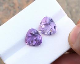 7.20 Ct Natural Purple Transparent Amethyst Gemstones Pairs