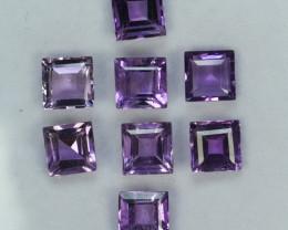 5.15 Cts Natural Purplish Pink Amethyst 5mm Square Cut 8 Pcs Bolivia