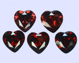 7.77Cts Natural  Red Rhodolite Garnet 7mm  Heart  7Pcs