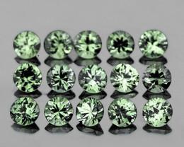2.00 mm Round Machine Cut 20pcs 1.15ct Green Sapphire [VVS]