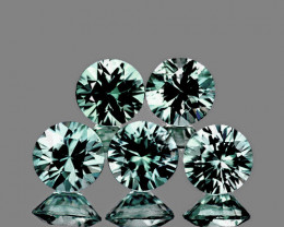 3.70 mm Round Machine Cut 5 pcs 1.12ct Unheated Green Sapphire [VVS]
