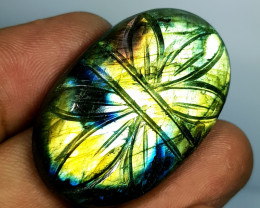 70.10 ct Natural Labradorite Oval Flower Cabochon  Gemstone