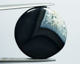21.58 ct Natural Black Lace Agate  Round Cabochon  Gemstone