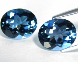 13.15Cts Amazing  Natural London Blue Topaz  Oval Matching Pair REF VIDEO