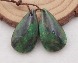 25.5cts natural chrysoprase teardrop earrings pair,natural gemstones,teardr