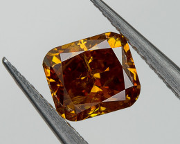Fancy Deep Orange Loose Natural Diamond Cushion 0.32 Ct. SI2 Untreated