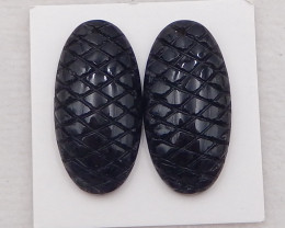 34.5cts fashion natural obsidian cabochon,natural gemstones,carved pattern