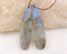 38.5cts natural water drop labradorite earrings pair,labradorite gemstone,w
