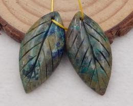 25cts natural chrysocolla earrings pair ,carved leaves earrings ,designer m