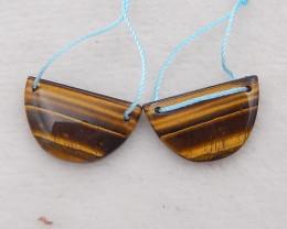 20cts tiger eyes earrings pair,handmade gemstone ,lucky stone D1165