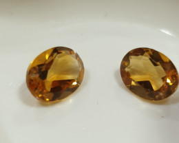 2.23Ct  Top Color Citrine Pair Faceted Oval 8x6mm.-(SKU366)