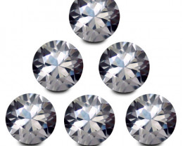 4.58Cts Excellent Natural Unheated White Zircon 5mm Round Diamond Cut 6Pies