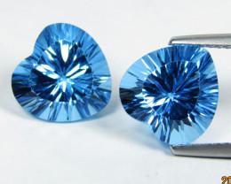 8.9Cts Stunning Natural Swiss Blue Topaz Heart Shape Can cave Cut Pair VIDE