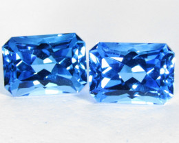 7.41Cts Sparkling Natural Swiss Blue Topaz Radiant Cut Matching Pair VIDEO