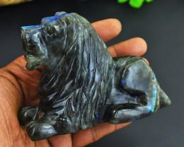 Genuine Collector Piece - Blue Flash Labradorite Carved Lion