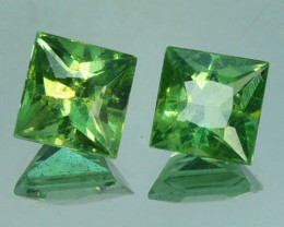 2.22 Cts Natural Green Apatite Square  6mm Pair