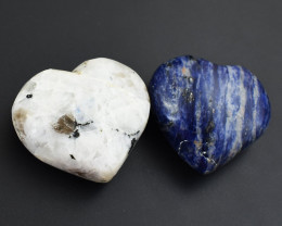 Genuine Exclusive Sodalite & Moonstone Heart Set