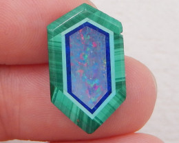 5cts new malachite, lapis lazuli and fire opal intarsia cabochon for desing