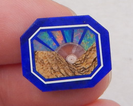 6cts new picture jasper, lapis lazuli and fire opal intarsia cabochon for d